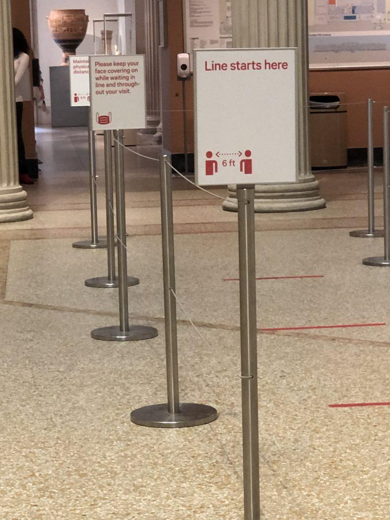 Social distance signs at the Metropolitan Museum of art